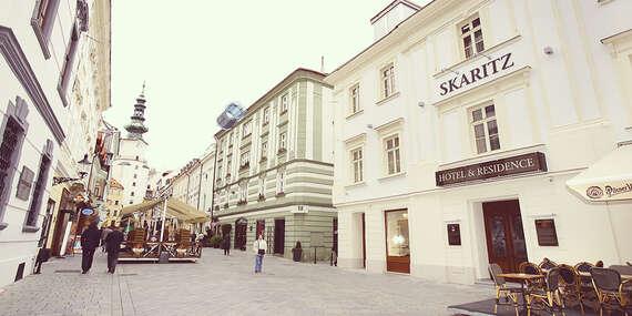 SKARITZ Hotel & Residence**** s úžasným interiérom a raňajkami, hneď pri Michalskej bráne/Bratislava