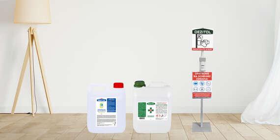 Veľké 5-litrové balenia dezinfekcie na ruky a plochy alebo stojan s dávkovačom/Slovensko