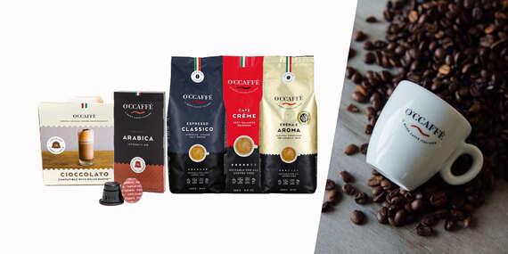 Balíček voňavej zrnkovej talianskej kávy O'Ccaffé, v ponuke aj kávové kapsule/Slovensko