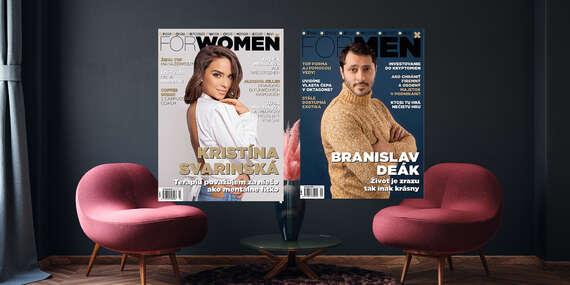 Ročné predplatné časopisu ForWomen alebo ForMen v tlačenej a online forme/Slovensko