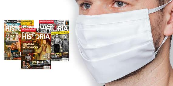 Ročné predplatné časopisu Pravdivá História + kvalitné dvojvrstvové bavlnené rúško/Slovensko