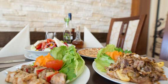 Degustační tradiční řecké masové plato s přílohou pro dva v restauraci Delphi Greek v Ostravě/Ostrava