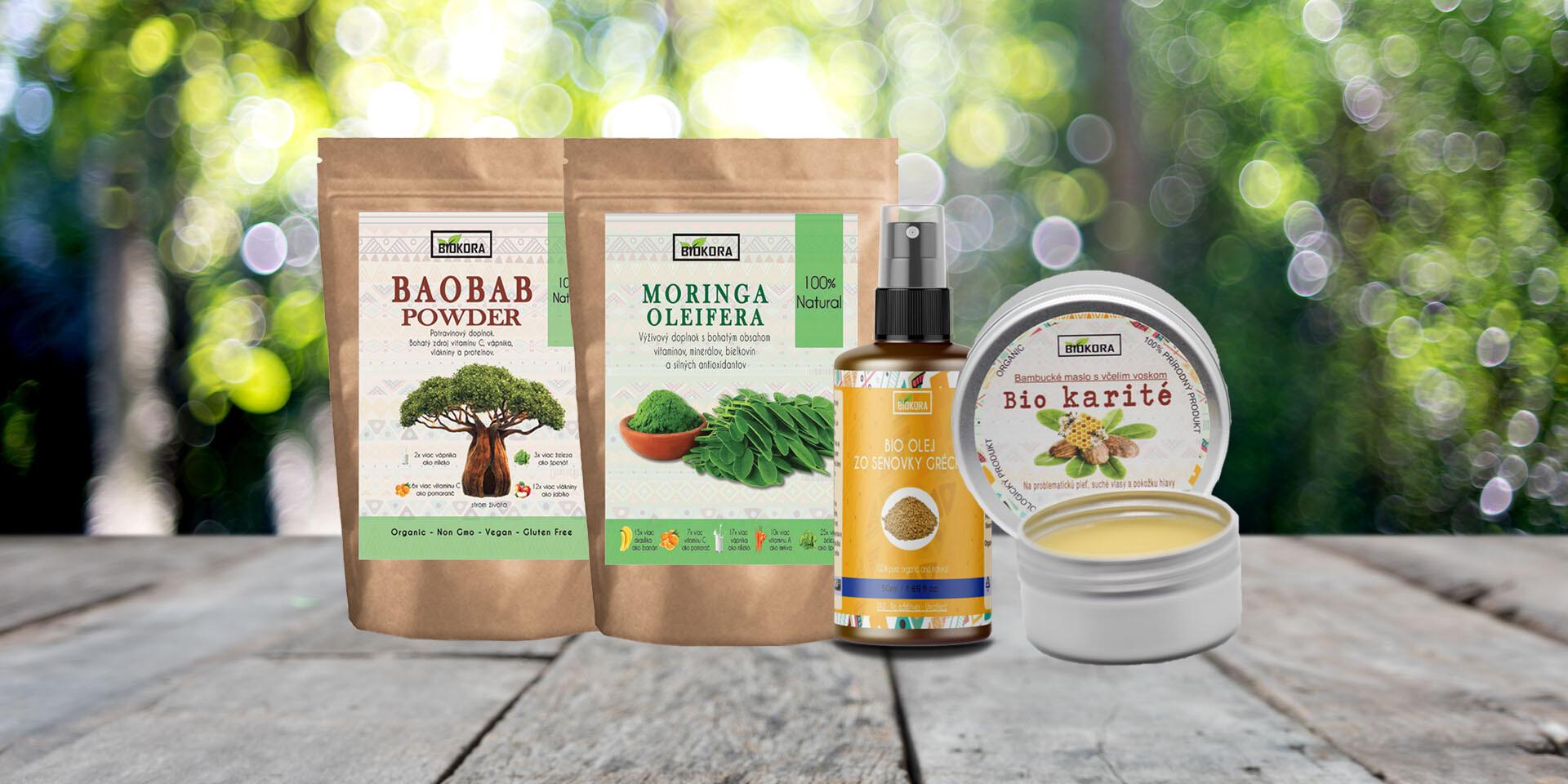 Bambucké maslo, Senovka grécka, BIO Moringový a Baobabový prášok značky Biokora Natural&Organic