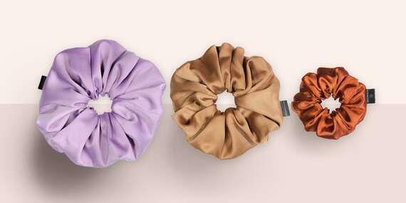 Scrunchies - látkové gumičky do vlasov z kvalitného saténu v rôznych veľkostiach/Slovensko