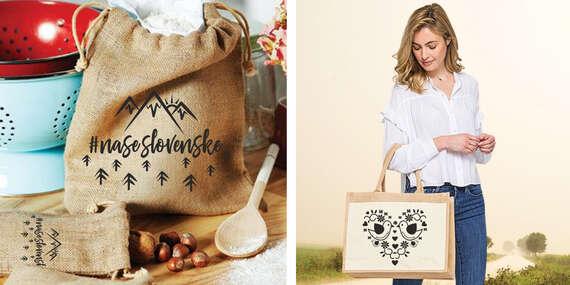 Jutové vrecúško na potraviny so šnúrkou alebo jutová nákupná taška/Slovensko