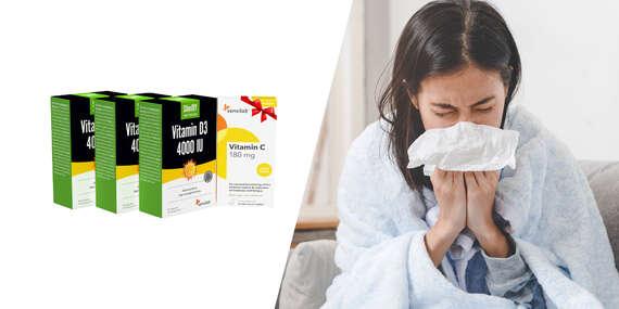 Balíček pre vašu imunitu počas obdobia chrípky a prechladnutia - vitamín D + vitamín C zdarma/Slovensko