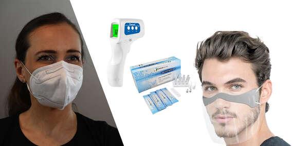 25 ks antigénových výterových testov, respirátor KN95 5 ks, maska na tvár a nos alebo teplomer/Slovensko