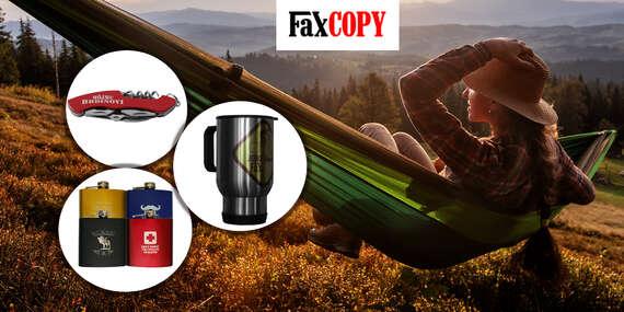 Cestovný hrnček s potlačou, náprsná fľaša alebo vreckový nôž s gravírovaním od FaxCOPY/Slovensko