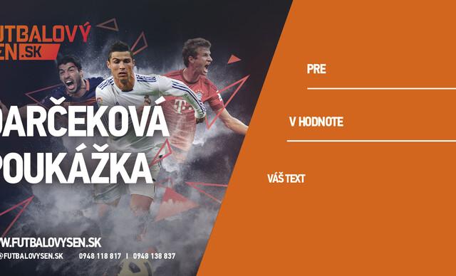 Darčekové poukážky na ľubovoľné futbalové zápasy CK Futbalový sen.