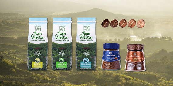 Prémiová kolumbijská káva Juan Valdez – prírodne pražená alebo instantná lyofilizovaná/Slovensko