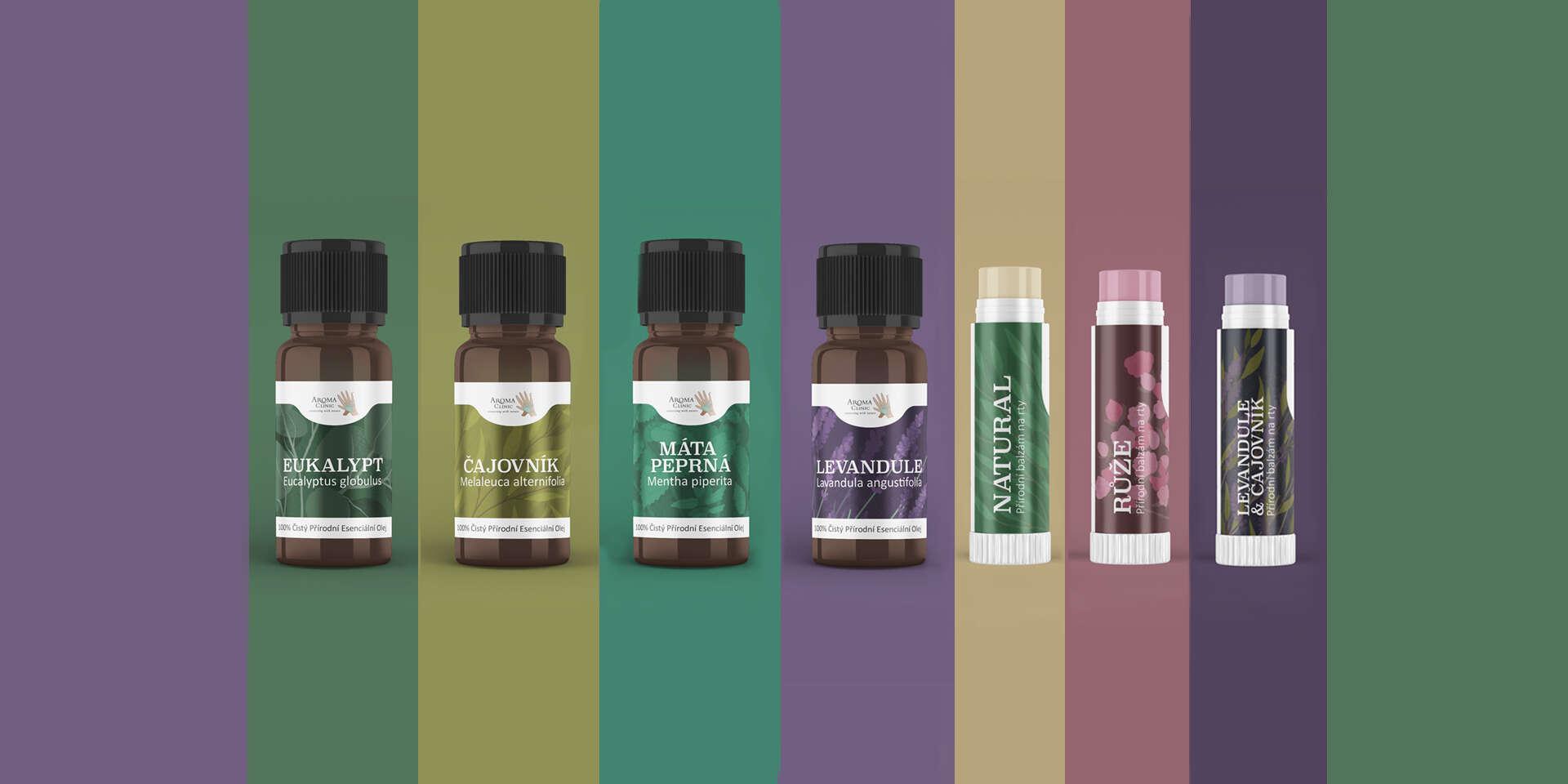 100 % prírodné balzamy na pery a čisté esenciálne oleje Aroma Clinics