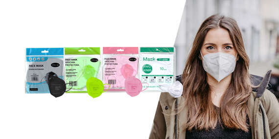 Farebné alebo biele respirátory FFP2 (KN95) bez výdychového filtra/Slovensko