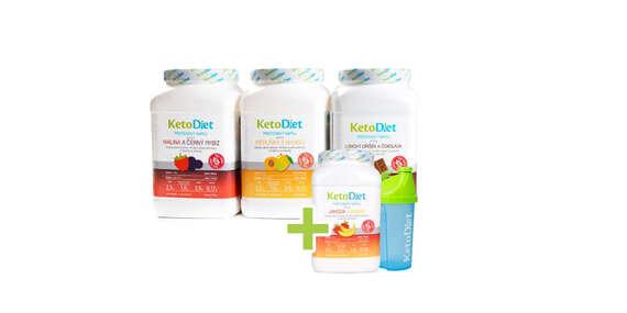 Mesačné balenie ochutených a neochutených proteínových nápojov KetoDiet – spolu až 140 porcií na 4 týždne vrátane doručenia/Slovensko