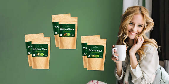 Zelená káva s vanilkou, BIO škoricou alebo kardamómom (1 + 1 zdarma)/Slovensko