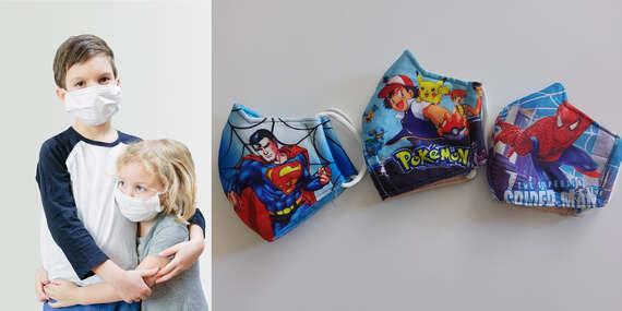 Detské rúška s motívmi superhrdinov - Superman, Spiderman, Pokémon/Slovensko