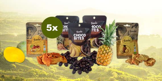 ECO a fairtrade sušené ovocie z Kolumbie: ananás, mango, banán v čokoláde/Slovensko